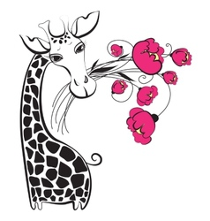 Cute giraffe with bunch of flowers vector image vector image