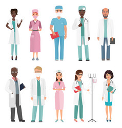 Doctors nurses and medical staff medical team vector
