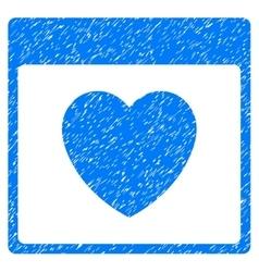 Favourite heart calendar page grainy texture icon vector