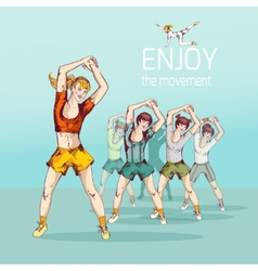 Fitness Girl Group vector image