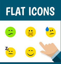 flat icon emoji set of asleep hush tears and vector image vector image