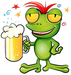 frog cartoon with schooner beer vector image