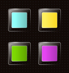 Glassy square icons on black vector