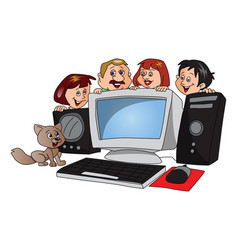 happy family with a newly purchased computer vector image