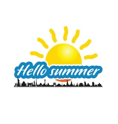 hello summer with ancient monument vector image vector image