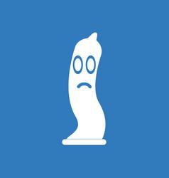 Icon on background sad condom silhouette vector