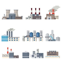 Industrial buildings icon set vector image