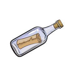 Message letter scroll in transparent glass bottle vector