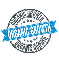 Organic growth round grunge ribbon stamp vector