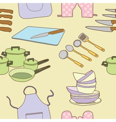 Seamless of kitchen tool vector image vector image