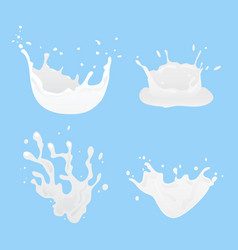 set of 3d milk splash and pouring vector image