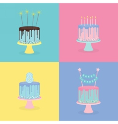 Set of birthday cakes with candles sparklers vector