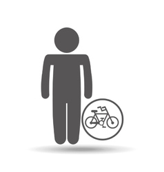 silhouette man icon bycicle sport design vector image