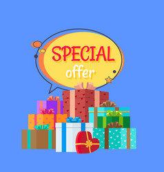 Special offer free gifts poster with decor boxes vector