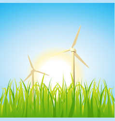 Spring and summer windmills vector