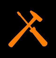 Tools sign orange icon on black vector