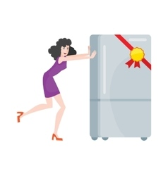 Woman Buys Refrigerator Electronic Device at Sale vector image