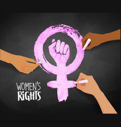 Womens hands drawing feminism protest symbol vector
