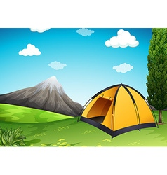 Yellow tent at the campground vector
