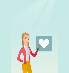 Young woman pressing heart shaped button vector