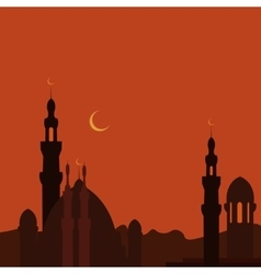East Town and mosque in sunset Ramadan image vector image