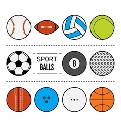 Set of sport balls for games flat icons sports vector
