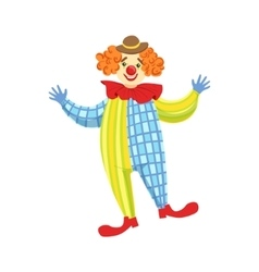 Colorful friendly clown in derby hat and classic vector