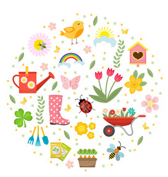 Spring icons set in round shape flat style vector