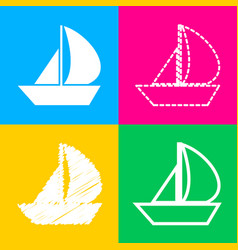 Sail boat sign four styles of icon on four color vector