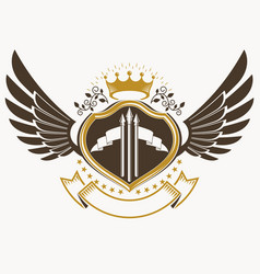 Heraldic sign made using vintage elements eagle vector