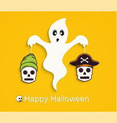 Halloween yellow background with scary ghost vector