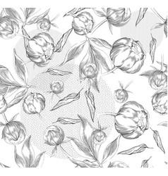 Ink hand drawn of ornate peonies pattern vector