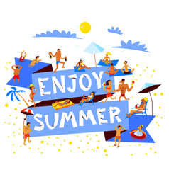 Enjoy summer lettering summer beach banner with vector