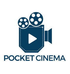Pocket cinema logo design vector
