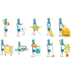 young muslim cleaner set vector image