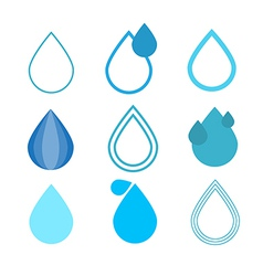 Blue water drops symbols set vector