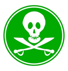 Jolly roger sign button vector