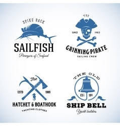 Vintage nautical sea logos or labels with vector