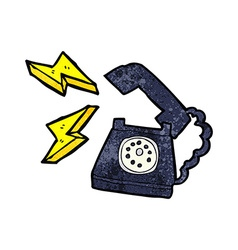 Cartoon ringing telephone with thought bubble vector
