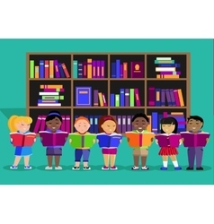 Other children read books in library vector