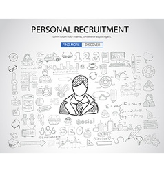 Personal recruitment concept with Doodle design vector image