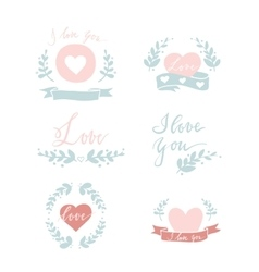 Set of six small hand drawn compositions vector
