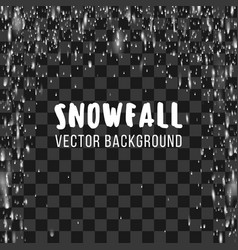 Snowfall on the transparent background vector image