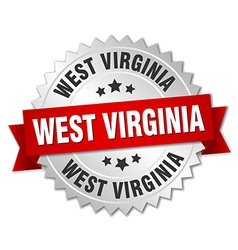 West virginia round silver badge with red ribbon vector