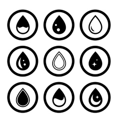 Round icons drop set vector