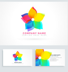 abstract flower logo with clean business card vector image