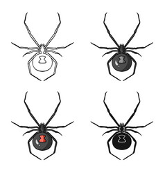 Black widow spider icon in cartoon style isolated vector