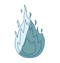 Blue shading silhouette of flame icon vector