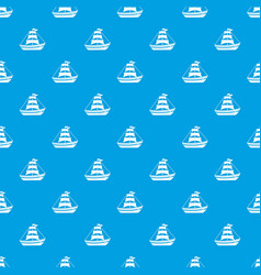 Boat with sails pattern seamless blue vector