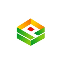 box 3D technology logo vector image